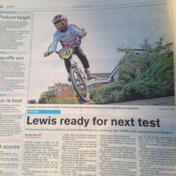 Lewis in the Northwich Guardian